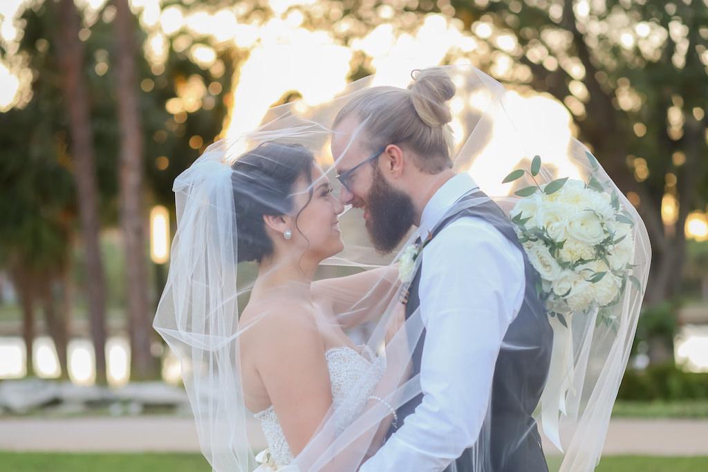 Florida Bride and Groom Creative Under Veil Wedding Portrait   Tampa Heights Wedding Photographer Lifelong Photography Studios
