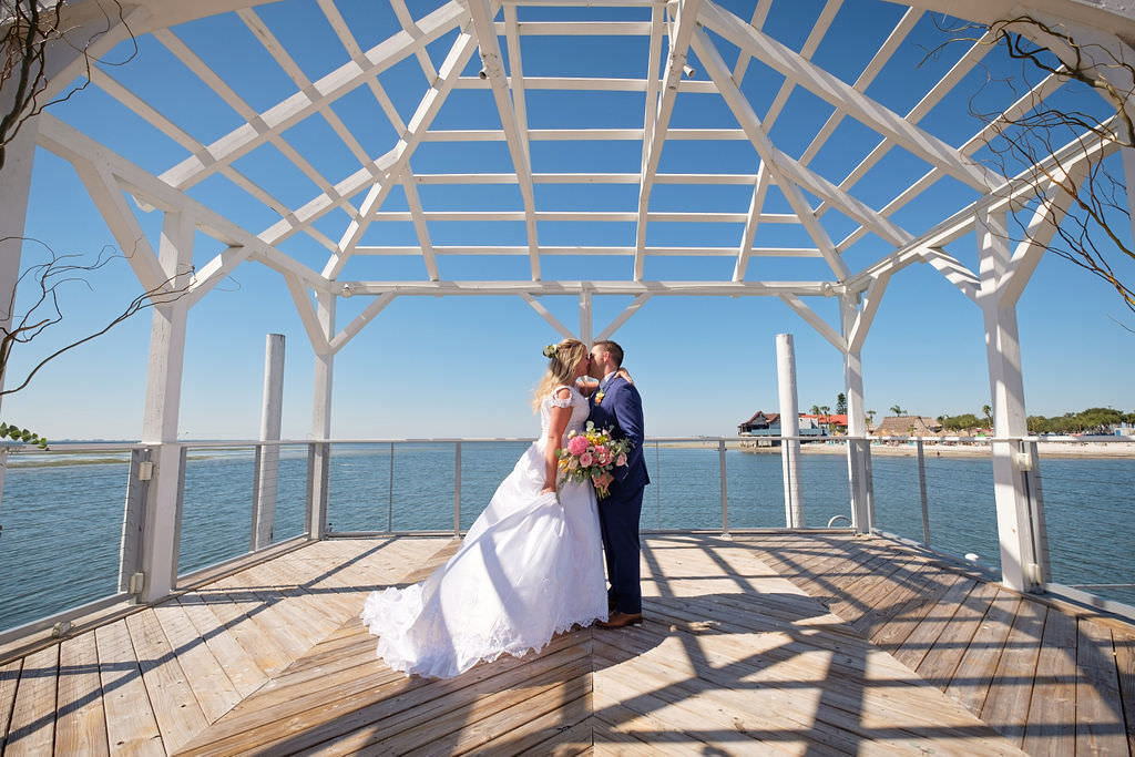 Florida Bride and Groom Waterfront Private Dock Wedding Portrait | Island Inspired Wedding Venue The Godfrey Hotel and Cabanas Tampa | Tampa Bay Wedding Photographer Marc Edwards Photographs