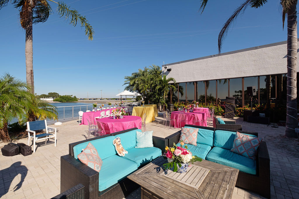 Citrus Inspired Waterfront Wedding Reception Decor | Island Inspired Wedding Venue The Godfrey Hotel and Cabanas | Tampa Bay Wedding Photographer Marc Edwards Photographs | Tampa Kate Ryan Event Rentals