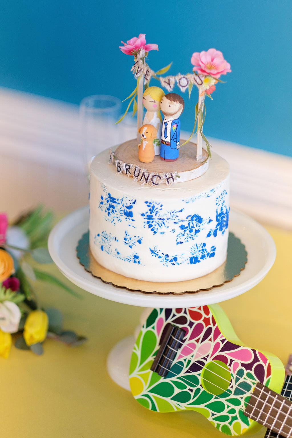 Tropical Inspired White and Blue Floral Printed One Tier Wedding Cake with Custom Bride, Groom and Dog Cake Topper | Tampa Bay Wedding Photographer Marc Edwards Photographs