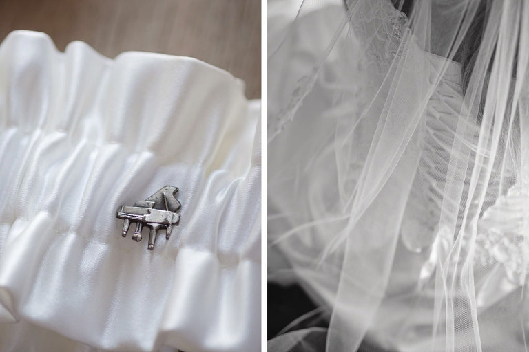 White Satin Garter with Grand Piano Pin | Tampa Bay Wedding Photographer Marc Edwards Photographs