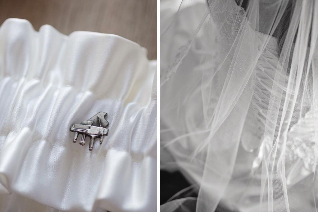White Satin Garter with Grand Piano Pin | Tampa Bay Wedding Photographer Marc Edwards Photographs