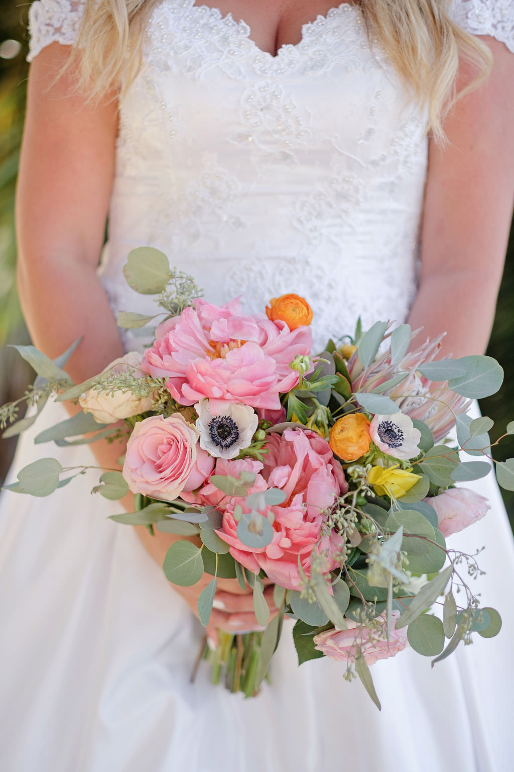 Florida Bride Outdoor Wedding Portrait, Bride in White Satin and Lace Sweetheart Neckline, Cap Sleeve Ballgown Wedding Dress with Bright Pink, Yellow, Ivory and Greenery Floral Bouquet | Tampa Bay Photographer Marc Edwards Photographs