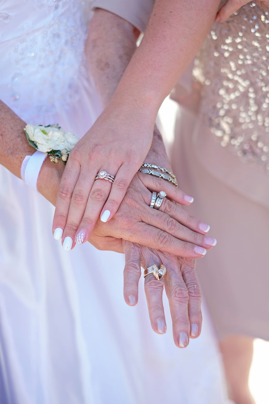 Florida Bride, Mother of the bride and Grandmother Wedding Portrait of Hands with Wedding Rings | Tampa Bay Wedding Photographer Marc Edwards Photographs