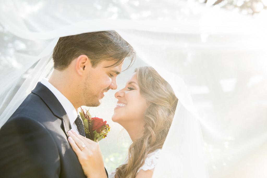 Florida Bride and Groom Creative Wedding Portrait Under Veil
