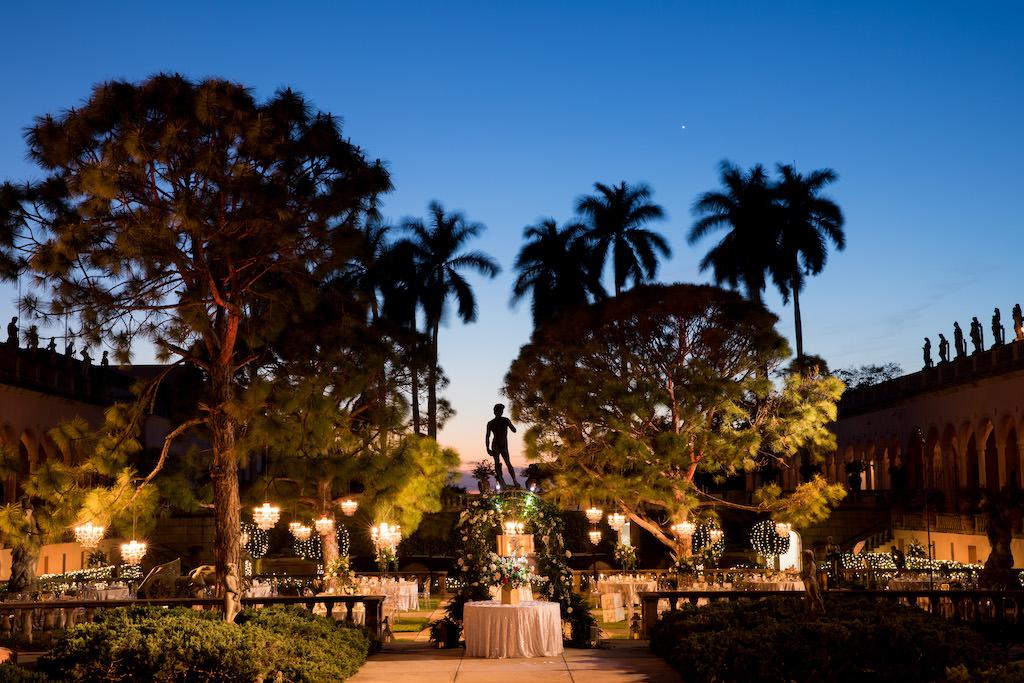 Nighttime Wedding Outdoor Garden Courtyard Wedding Reception Decor | Sarasota Wedding Venue Ringling Museum | Tampa Bay Wedding Planner NK Weddings