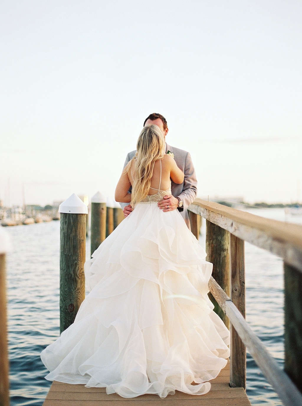 Waterfront Boat Dock Bride and Groom Wedding Portrait | Florida Wedding Venue Palmetto Riverside Bed and Breakfast
