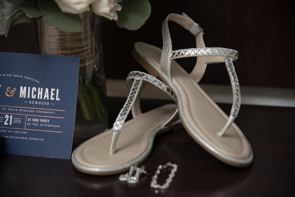 Silver T Flat Sandal Wedding Shoes
