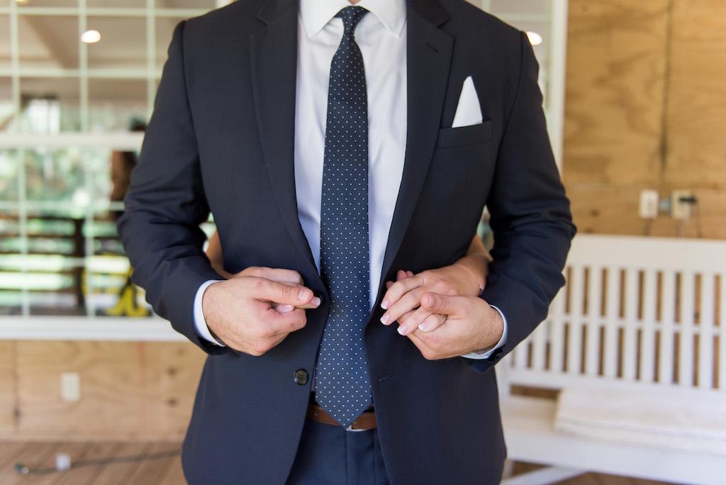 Bride and Groom Creative Wedding Portrait, Bride Hugging Groom from Behind, Groom in Navy Blue Suit