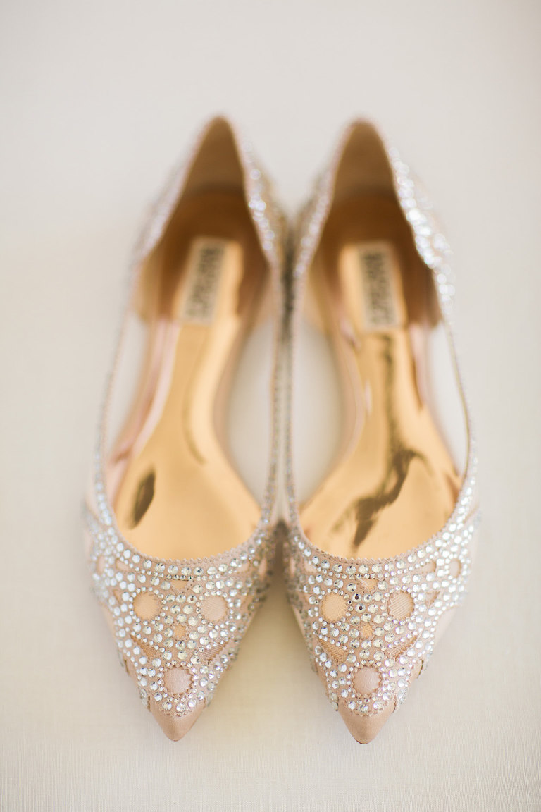 Pointed Nude and Rhinestone Flat Wedding Shoes
