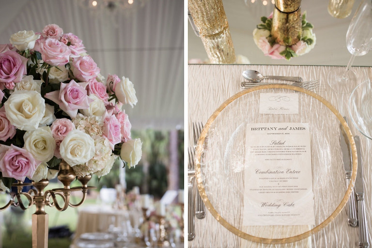 Tall Gold Candlestick with Blush Pink and White Floral Bouquet, Gold Rimmed and Clear Glass Charger with Menu | Tampa Bay Wedding Photographer Cat Pennenga Photography | Wedding Planner NK Productions