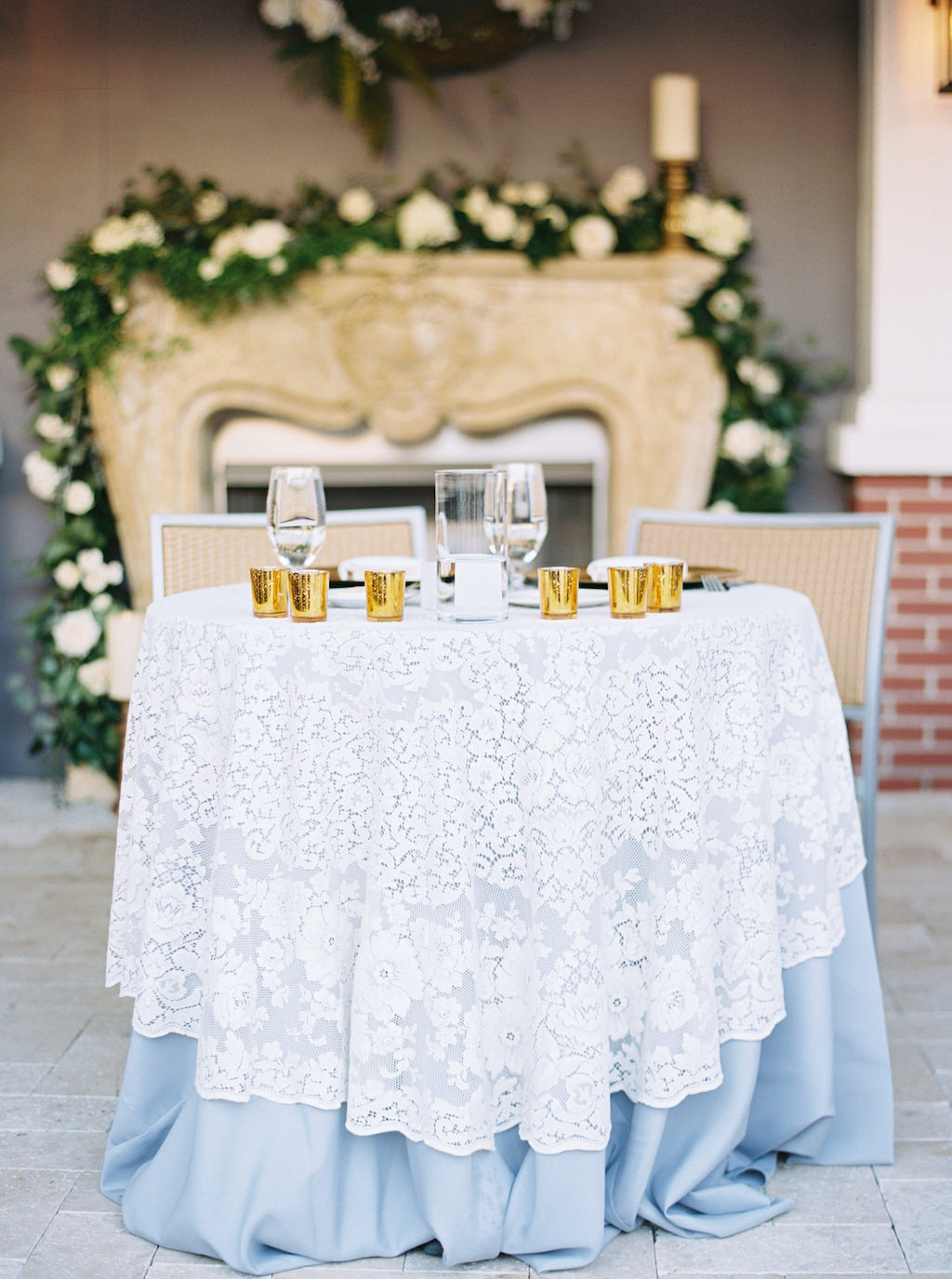 Garden Inspired Wedding Reception Decor, Sweetheart Table with Dusty Blue and White Lace Tablecloths, Gold Mercury Votives | Florida Wedding Venue Palmetto Riverside Bed and Breakfast