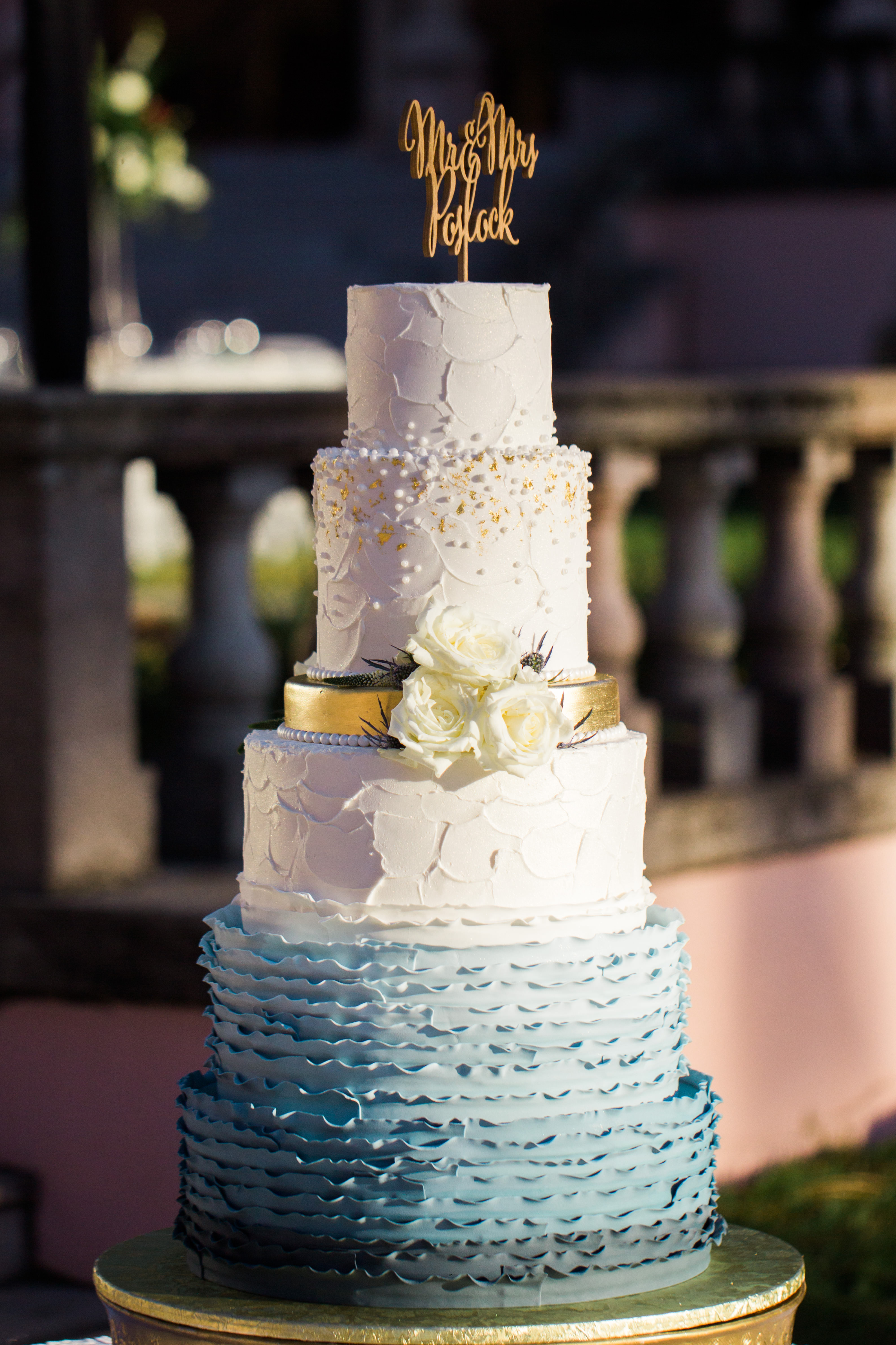 Five tier White, Blue Ombre Wedding Cake with Gold Accents and Real Ivory Rose Florals, Custom Gold Cake Topper | Tampa Bay Wedding Planner NK Weddings