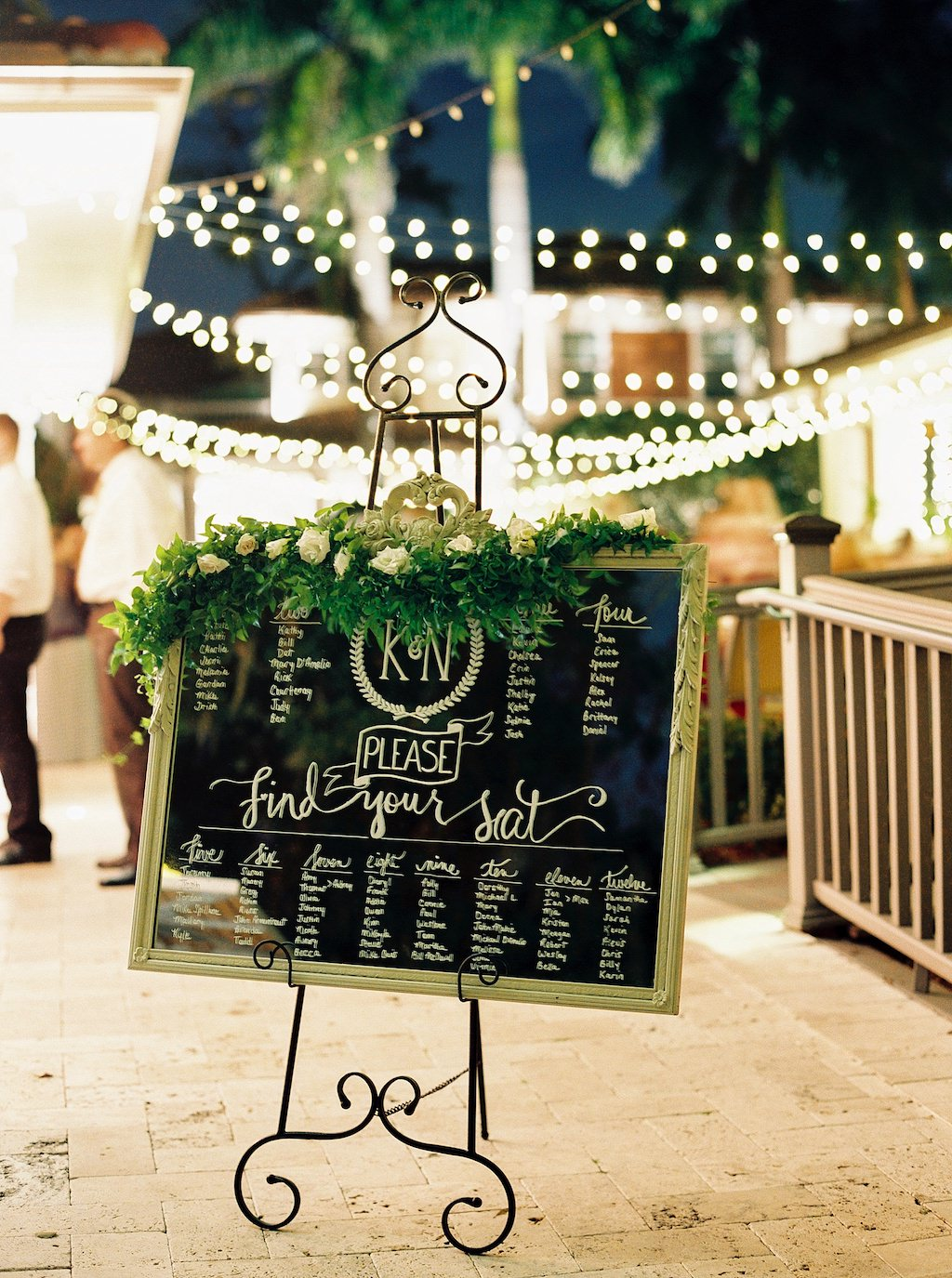 Garden Inspired Wedding Reception Decor, Gold Frame Mirror Seating Chart Sign with Greenery and Ivory Rose Garland