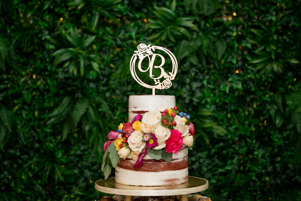 Two Tier White and Burgundy Wedding Cake with Real White, Pink, Yellow and Magenta Floral Decor, Custom Cake Topper | Tampa Wedding Baker Alessi Bakeries