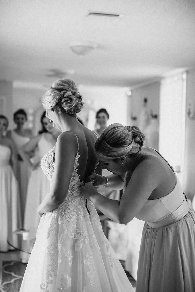 Florida Bride Getting Ready Wedding Portrait in Spaghetti Strap Lace A Line Wedding Dress