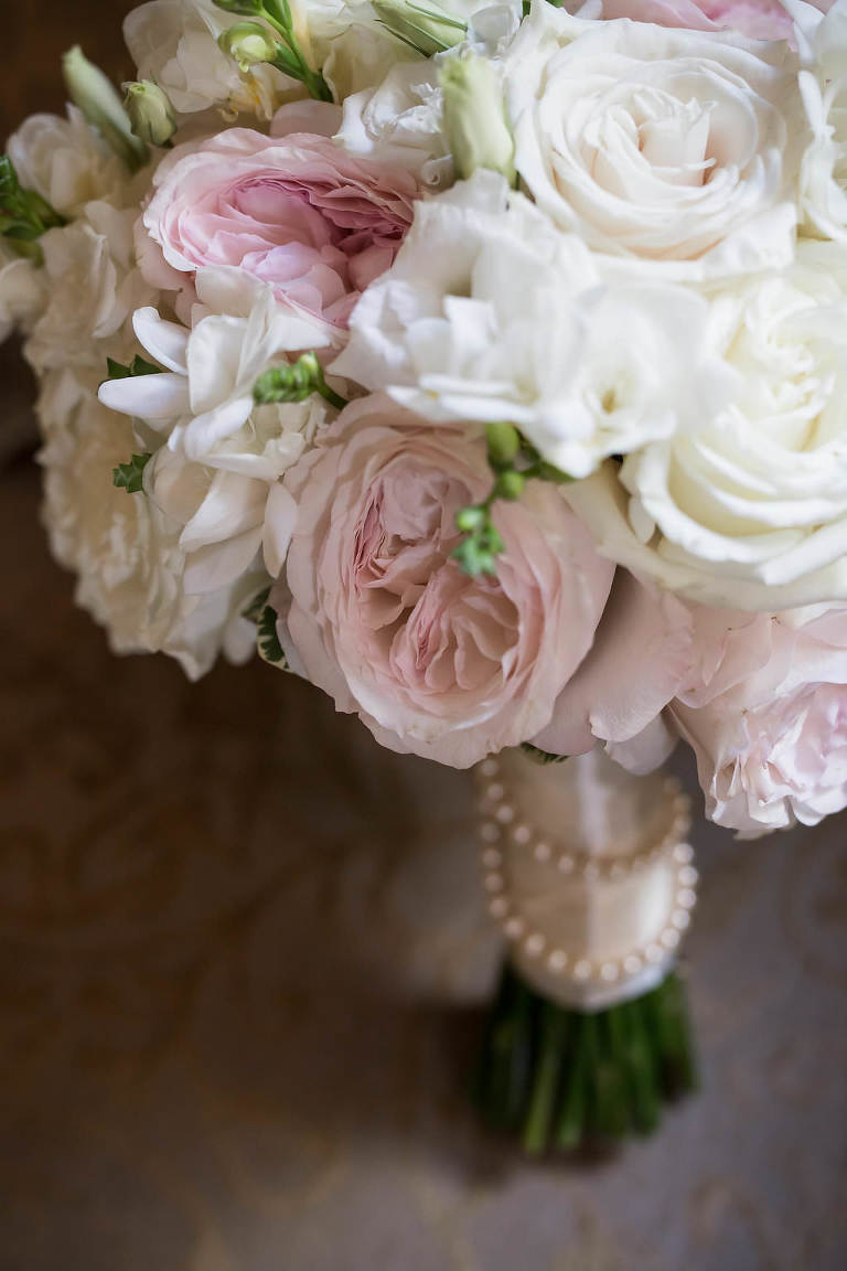 Blush Pink and White Floral WEdding Bouquet with Silk Ribbon and Pearl Sash | Tampa Bay Wedding Photographer Cat Pennenga Photography | Wedding Planner NK Productions
