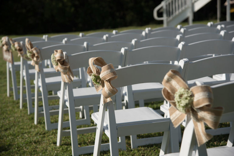 Outdoor Wedding Ceremony Decor White Wooden Folding Chairs with Burlap Bows
