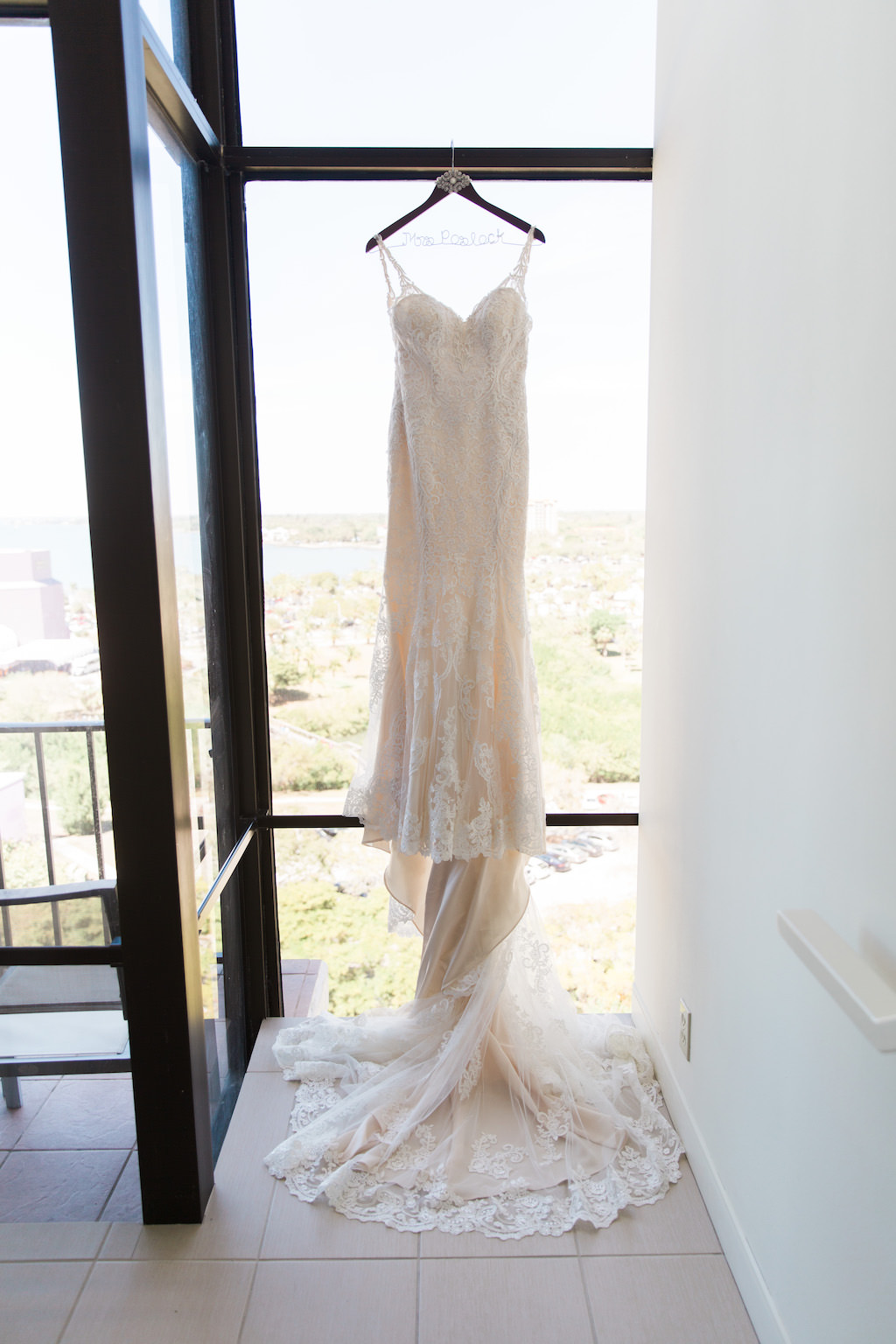 Ivory Lace Fitted Sweetheart with Straps Wedding Dress on Wooden Personalized Hanger