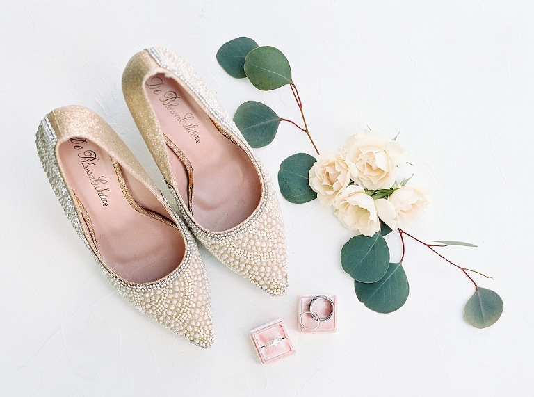 Ivory, Nude Pearl Embellished Pointed Toe Wedding Shoes, Ivory Roses and Silver Dollar Leaves, Engagement Ring and Wedding Rings in Blush Pink Velvet Ring Box | Tampa Bay Wedding Florist Cotton & Magnolia