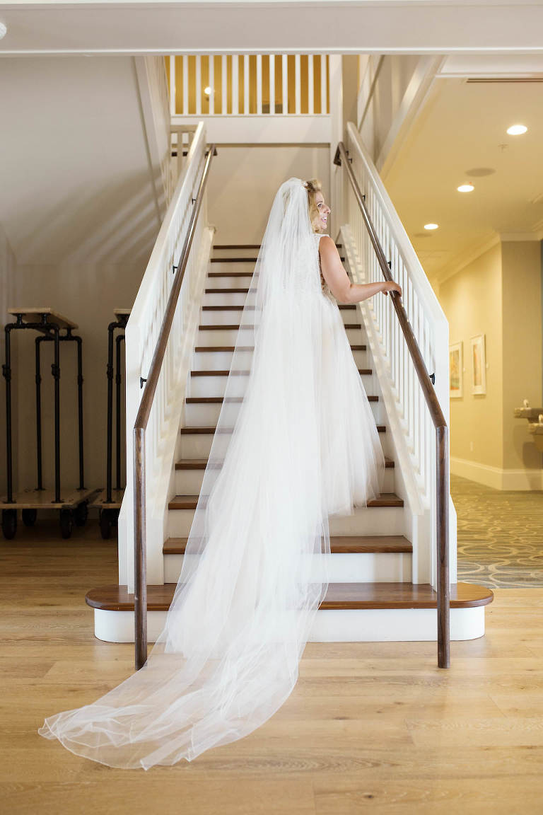 Florida Bride Wedding Portrait on Staircase in Cathedral Length Veil | Tampa Bay Bridal Boutique Truly Forever Bridal