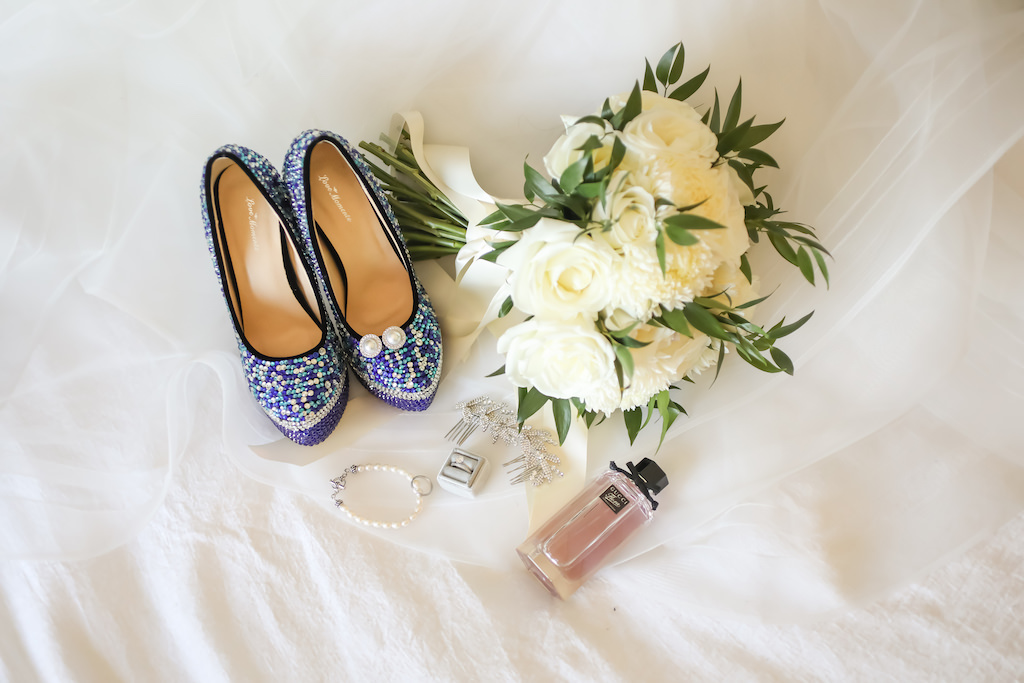 Blue Beaded Round Toe Wedding Shoes, White and Greenery Floral Bouquet   Tampa Bay Wedding Photographer Lifelong Photography Studios