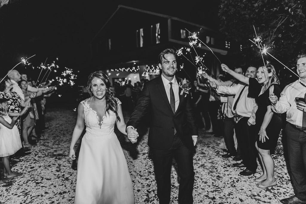 Destination Florida Wedding Bride and Groom Sparkler Exit