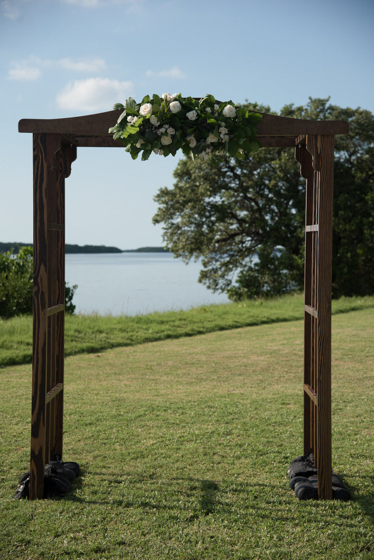 Outdoor Wedding Ceremony Decor, Wooden Arch with Greenery and White Floral Bouquet | Tampa Bay Wedding Florist Cotton and Magnolia