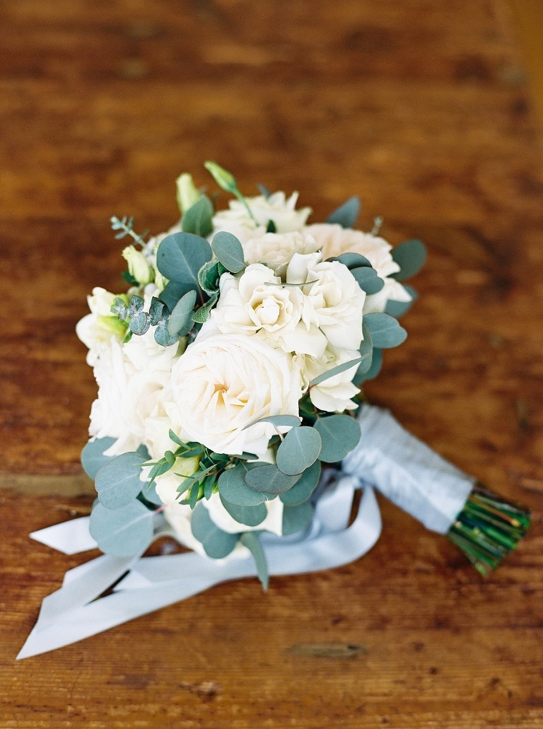 Ivory, White Garden Roses and Silver Dollar Eucalyptus Floral Wedding Bouquet with Silk Dusty Blue Ribbon | Tampa Bay Wedding Florist Cotton & Magnolia