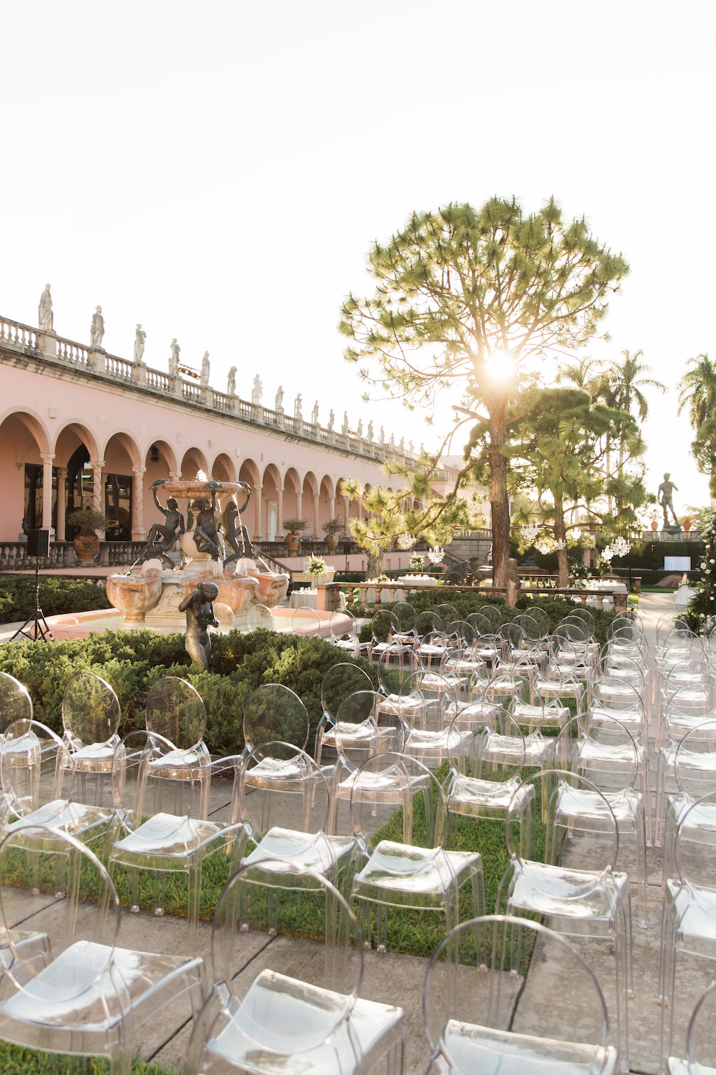 Elegant Modern Garden Courtyard Ceremony Decor, Ghost Chairs | Sarasota Wedding Venue Ringling Museum | Tampa Bay Wedding Planner NK Weddings