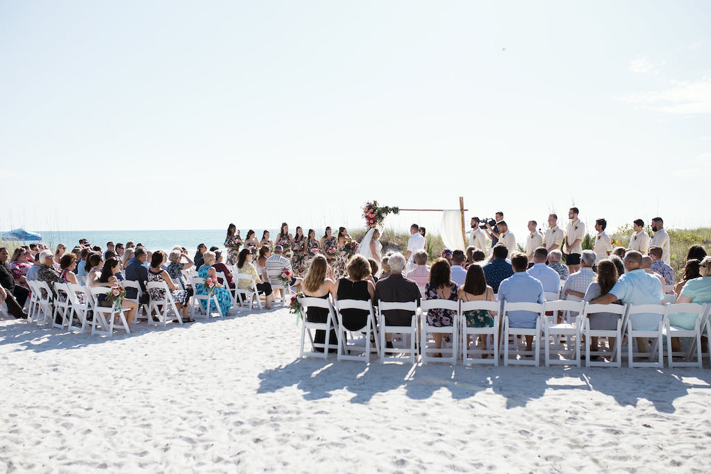 Tropical Beach Waterfront Wedding Ceremony, Bride and Groom Exchanging Vows Portrait