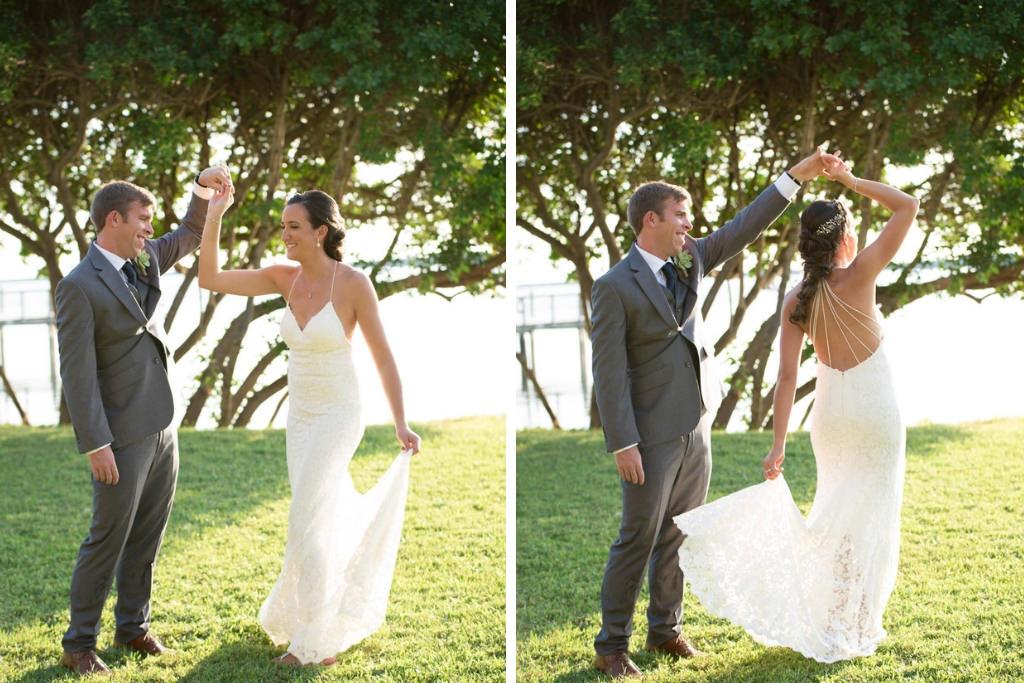 Florida Bride and Groom Wedding Portrait Dancing Outside