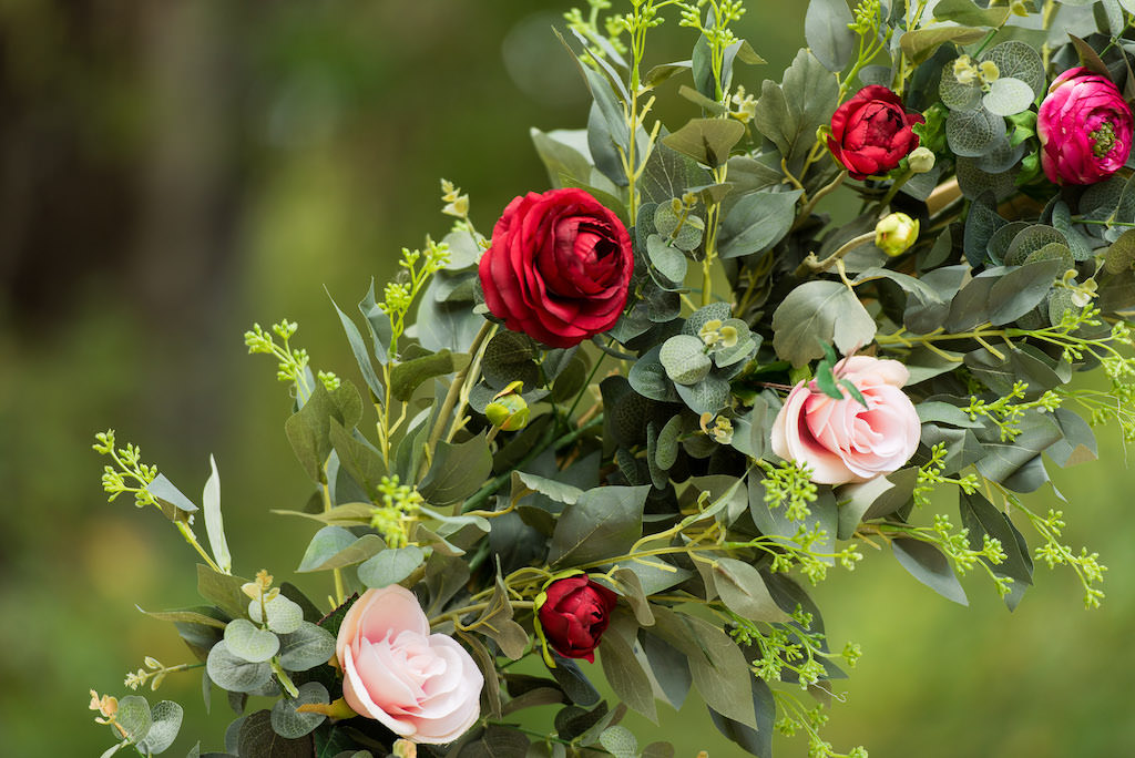 Rustic Garden Wedding Ceremony Decor, Arch Covered in Greenery, Blush Pink and Burgundy, Red Roses
