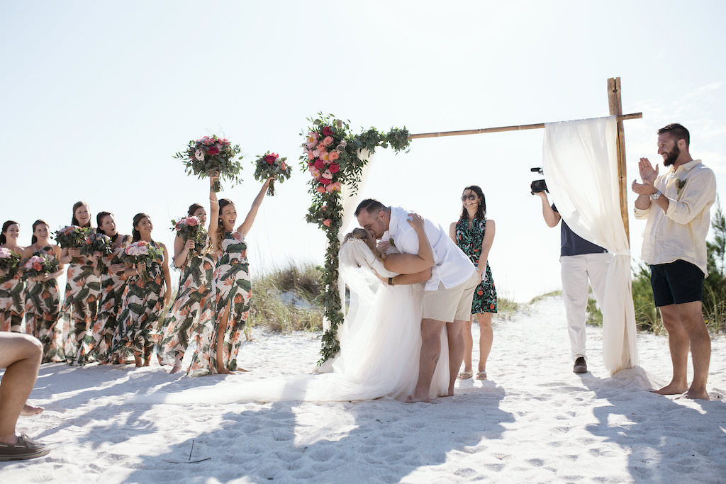 Tropical Beach Wedding, Florida Bride and Groom First Kiss Wedding Ceremony Portrait