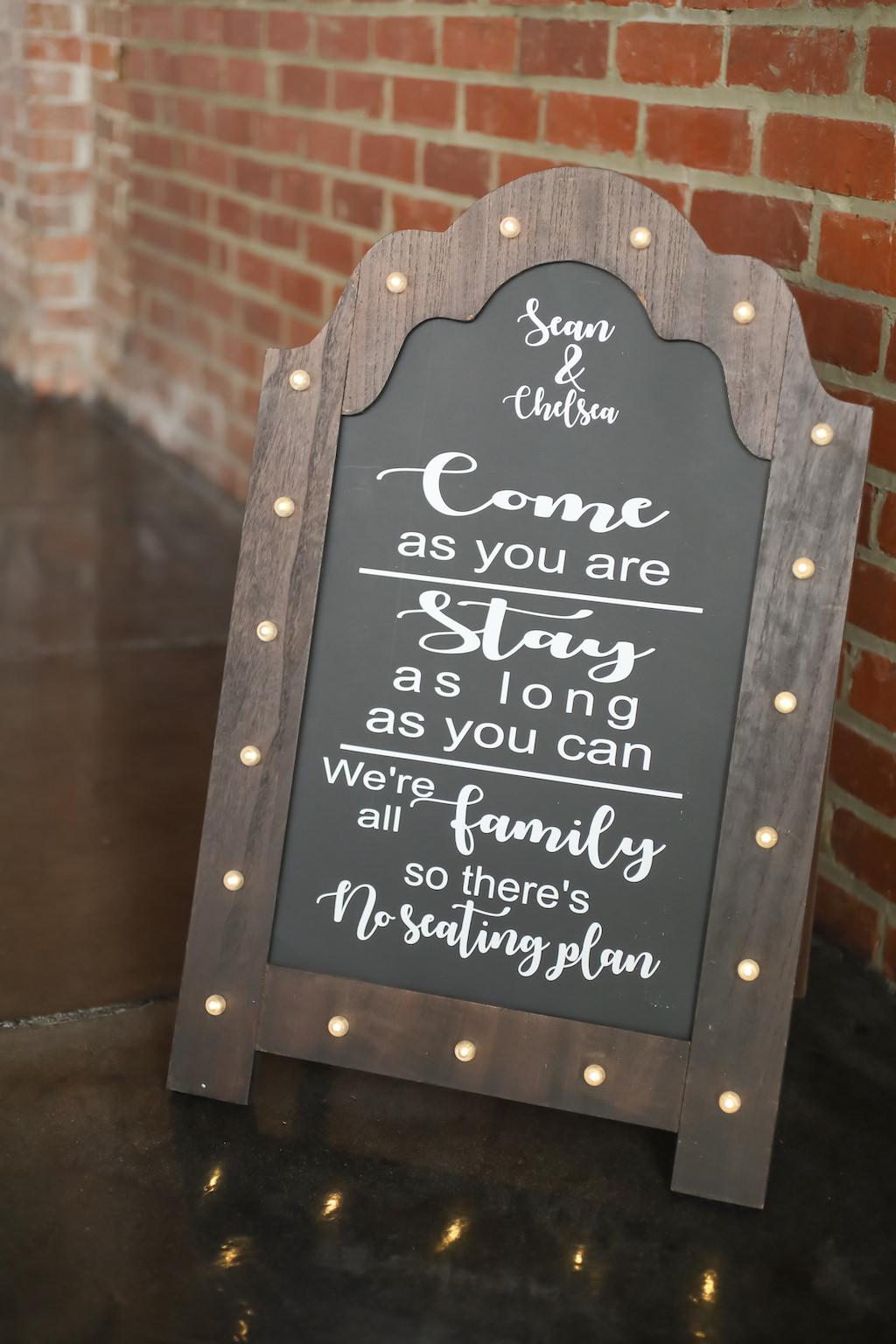 Chalkboard and Wooden Wedding Ceremony Welcome Sign   Tampa Bay Wedding Photographer Lifelong Photography Studios