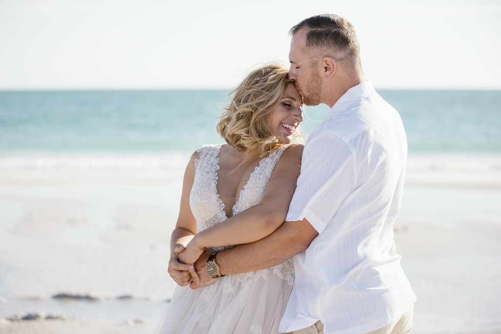 Florida Bride and Groom Wedding Portrait on Beach | Tampa Bay Bridal Boutique Truly Forever Bridal