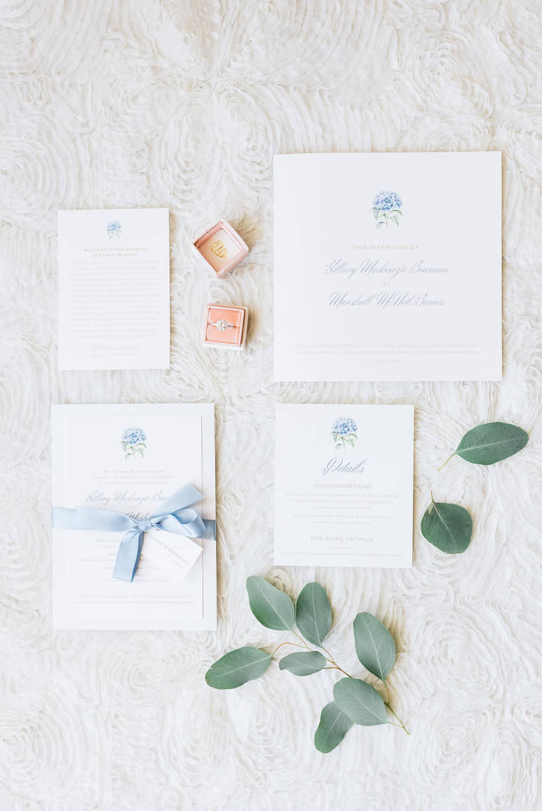 Romantic Dusty Blue and White Classic Wedding Invitation Suite, Velvet Blush Pink The Mrs Ring Box with Diamond Engagement Ring