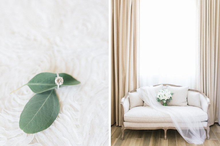 Round Diamond Engagement Ring, Ivory Cushion with Rustic Wooden Detailing Loveseat, Tulle Veil and White and Greenery Floral Bouquet