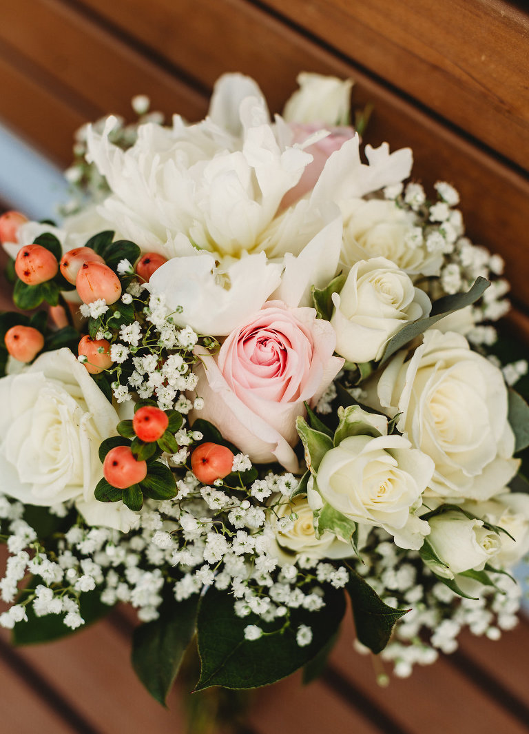 Simple White and Blush Pink Roses, Baby's Breathe and Berries Wedding Floral Bouquet