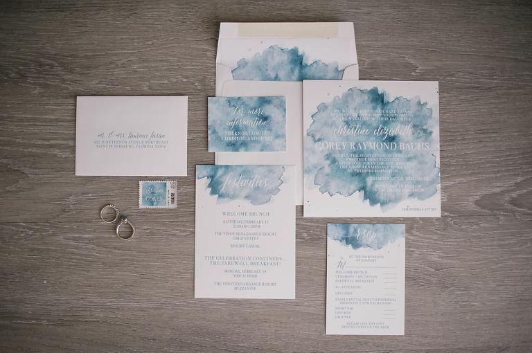 Blue watercolor wedding invitation suite | Tampa Bay custom stationery designer URBANcoast