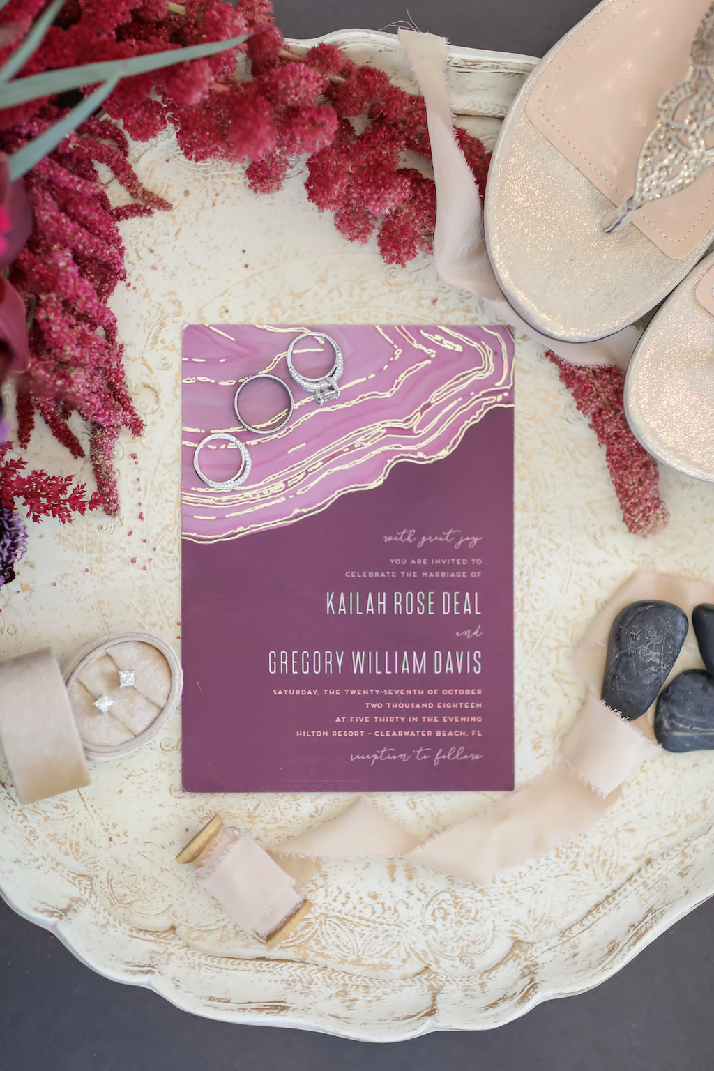 Jewel Tone Purple, Plum with Gold Foil Accent and Agate Stone Inspired Wedding Invitation | Tampa Bay Wedding Photographer Lifelong Photography Studios