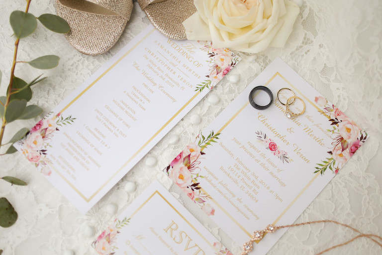 Floral White, Pink and Gold Wedding Invitation Suite, Round Diamond and Yellow Gold Wedding Ring, Black Groom Wedding Ring | Tampa Bay Wedding Photographer Lifelong Photography Studios