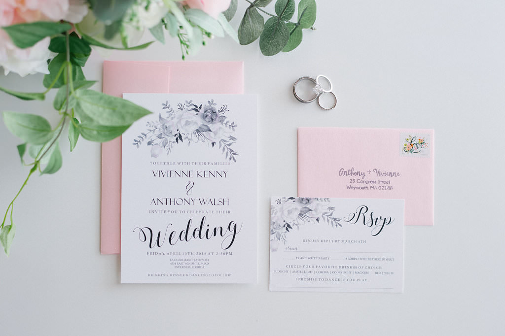 Blush Pink, White and Grey Floral Wedding Invitation Suite