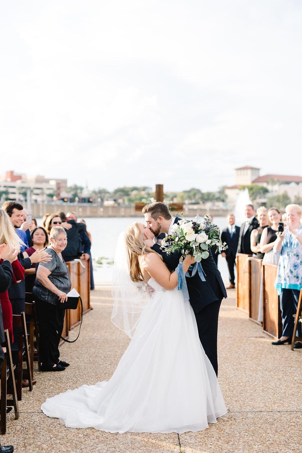 Florida Bride and Groom Wedding Ceremony Exit Wedding Portrait   Lakeland Wedding Venue Lake Mirror Amphitheater   Tampa Wedding Planner Love Lee Lane