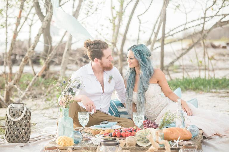 Florida Beachfront Wedding Style Shoot, Bride and Groom Wedding Portrait   Tampa Bay Wedding Planner UNIQUE Weddings and Events   St. Petersburg Wedding Venue Fort DeSoto Park