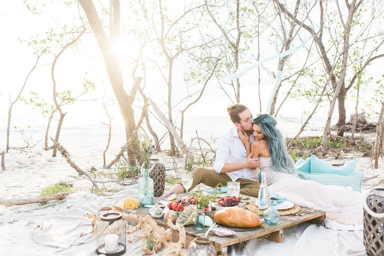 Florida Beachfront Wedding Style Shoot, Bride and Groom Wedding Portrait | Tampa Bay Wedding Planner UNIQUE Weddings and Events | St. Petersburg Wedding Venue Fort DeSoto Park