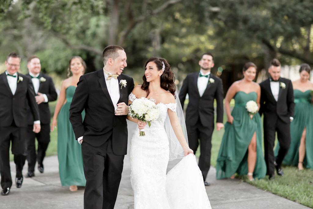 Florida Bride, Groom, Bridesmaids, Groomsmen Bridal Party Outdoor Wedding Portrait | Tampa Bay Wedding Photographer Lifelong Photography Studio