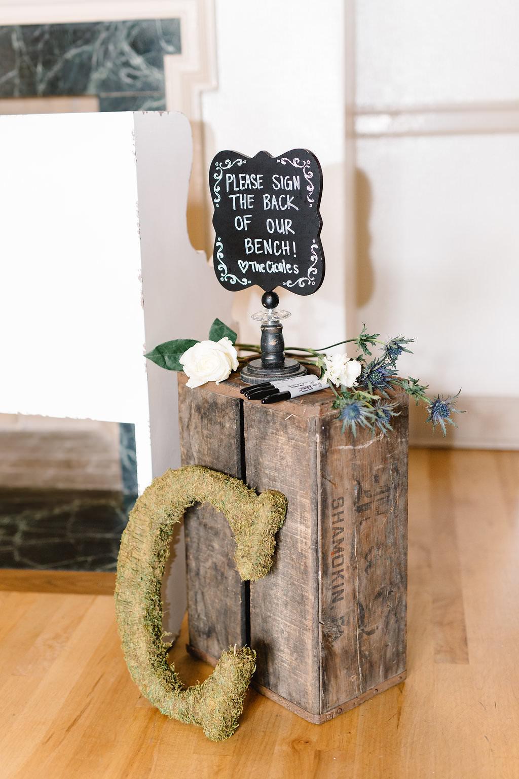 Vintage Inspired Wedding Reception Decor, Wooden Pallet Box with Chalkboard Sign   Tampa Bay Wedding Planner Love Lee Lane