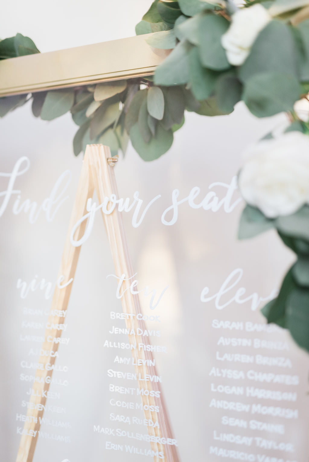 Classic Glass Window Pane In Gold Frame Wedding Reception Guest Seating Chart With Greenery Garland Marry Me Tampa Bay Local Real Wedding Inspiration Vendor Recommendation Reviews