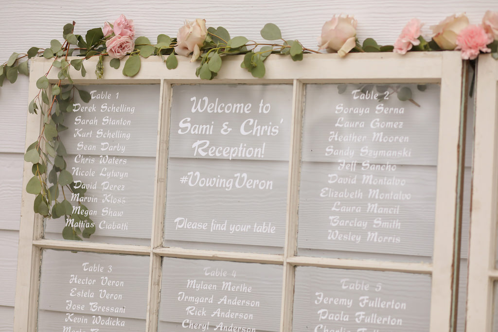 Rustic Wedding Reception Decor White Wash Window Pane Seating Chart With Greenery Garland And Blush Pink Roses Tampa Bay Wedding Photographer Lifelong Photography Studios Marry Me Tampa Bay Local